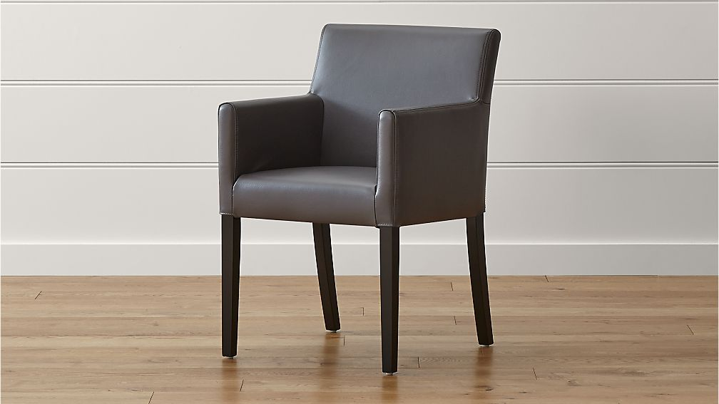 Lowe smoke leather dining arm chair crate and barrel for Leather dining room chairs with arms