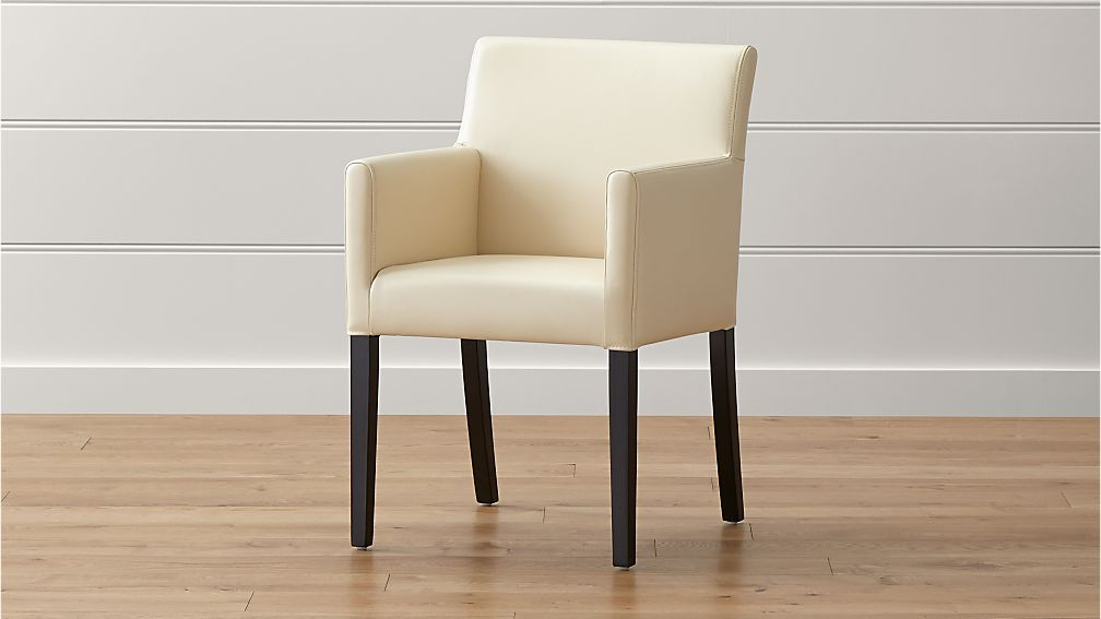 Lowe ivory leather dining arm chair crate and barrel for Leather dining room chairs with arms