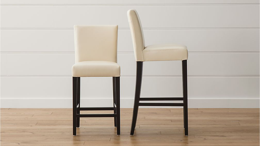 Lowe Ivory Leather Bar Stools Crate And Barrel