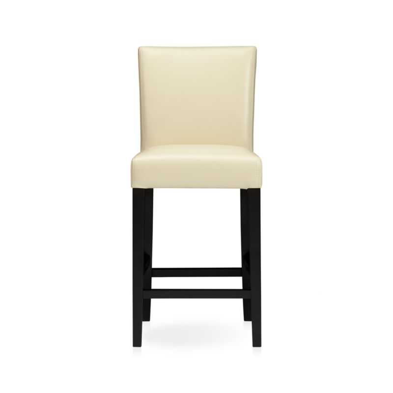"""The style is classic Parsons. The colors are both fashion-forward and classic. The look is bold and modern in soft pebbled bicast leather with double saddle-stitching. Generous seat makes for comfortable seating at a high dining table or kitchen bar. Crafted of solid birch with legs stained a rich ebony.<br /><br /><NEWTAG/><ul><li>Solid birch and low-emission engineered wood</li><li>Web suspension</li><li>Bicast leather with foam padding</li><li>Double saddle-stitch detail</li><li>24""""H seat sized for counters</li><li>Designed and tested for use in commercial spaces such as offices, restaurants and hotels</li><li>Made in China</li></ul>"""