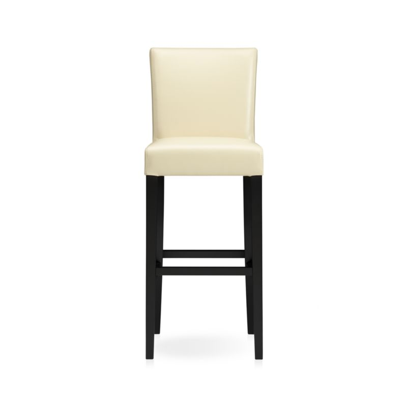 """The style is classic Parsons. The colors are both fashion-forward and classic. The look is bold and modern in soft pebbled bicast leather with double saddle-stitching. Generous seat makes for comfortable seating at a high dining table or kitchen bar. Crafted of solid birch with legs stained a rich ebony.<br /><br /><NEWTAG/><ul><li>Solid birch and low-emission engineered wood</li><li>Web suspension</li><li>Bicast leather with foam padding</li><li>Double saddle-stitch detail</li><li>30""""H seat sized for bars</li><li>Designed and tested for use in commercial spaces such as offices, restaurants and hotels</li><li>Made in China</li></ul>"""