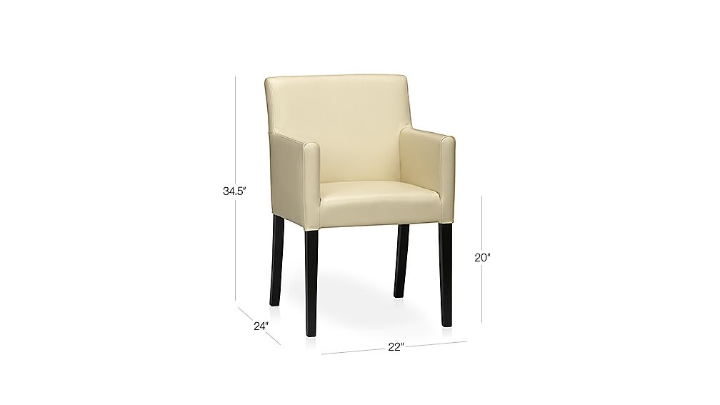 Lowe Ivory Leather Dining Arm Chair Crate and Barrel : LoweIvoryArmChair3QF11Dim from www.crateandbarrel.com size 1008 x 567 jpeg 14kB
