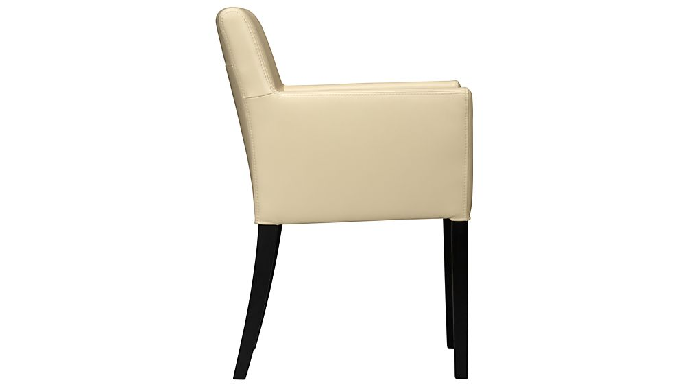Lowe Ivory Leather Dining Arm Chair in Dining Chairs  : LoweIvoryArmChairSdF11 from crateandbarrel.com size 1008 x 567 jpeg 13kB