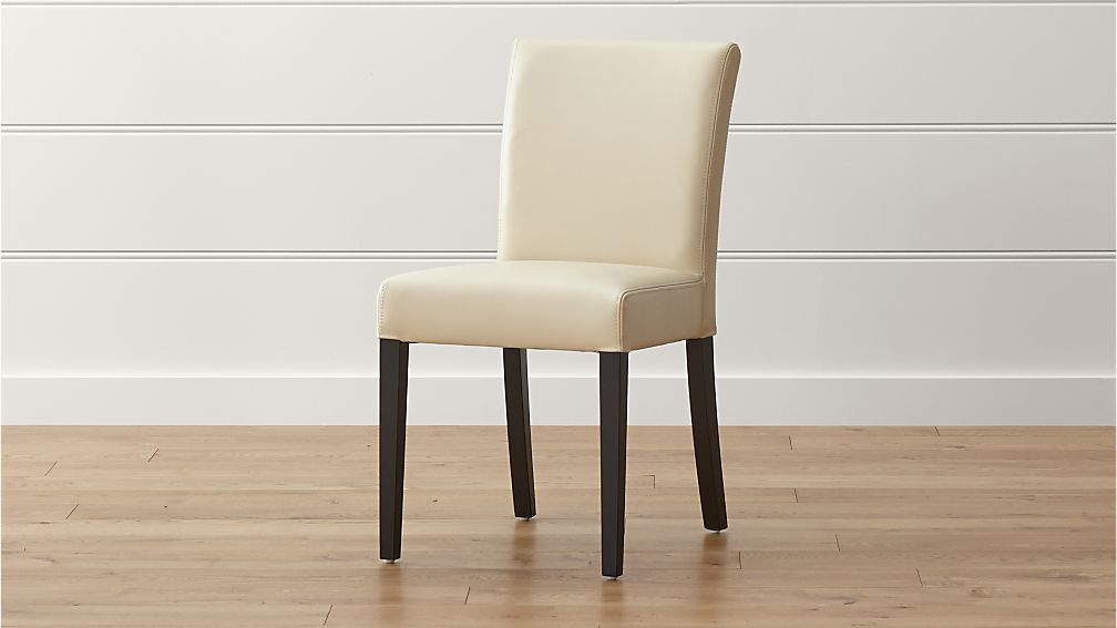 Lowe ivory leather dining chair crate and barrel - Crate and barrel parsons chair ...