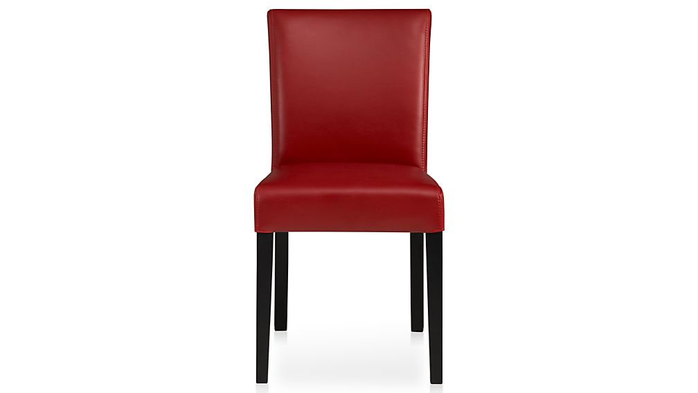 Lowe red leather dining chair - Crate and barrel parsons chair ...