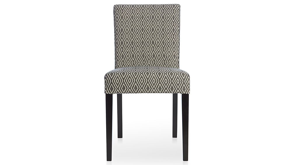 Lowe diamond upholstered dining chair crate and barrel for Black and white upholstered dining chairs