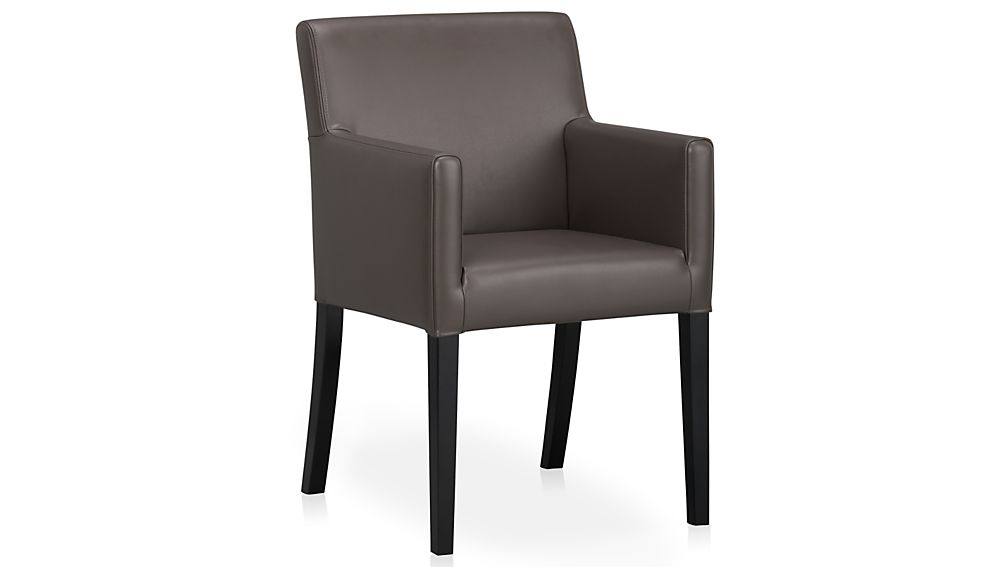 Lowe smoke leather dining arm chair crate and barrel for Leather dining chairs with arms