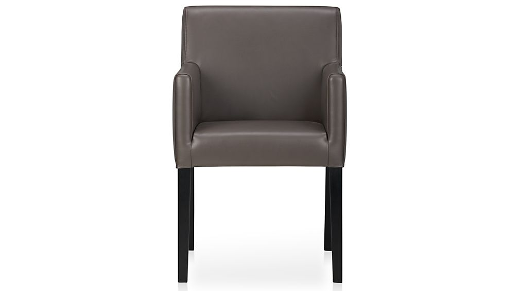 Lowe Smoke Leather Dining Arm Chair | Crate and Barrel