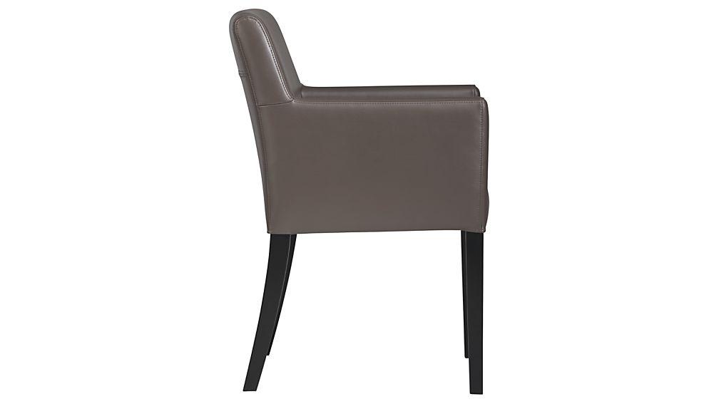 Lowe Smoke Leather Dining Arm Chair