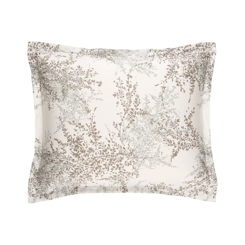 "Master Italian printers conjure a realistic trompe l'oeil of hypnotic botanicals in sea glass and mink on soft ivory cotton. Shams have a 1"" flange and overlapping closures on the reverse. Bed pillows also available.<br /><br /><NEWTAG/><ul><li>100% cotton</li><li>300-thread-count</li><li>Pigment-printed on dyed ground</li><li>Machine wash cold</li><li>Made in Italy</li></ul>"