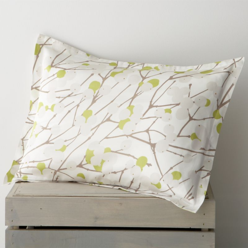 "Designed by Erja Hirvi in 2004, Lumimarja (""snowberries"") is a modern return to organic and natural design encapsulated elegantly in this Marimekko pattern. The snowberry, whose interior resembles crystalline snowflakes, is representative of the beauty that can be found throughout Finland's vast wilderness. Matching pillow sham has a 1"" flange and generous back flap closure. Bed pillows also available.<br /><br /><NEWTAG/><ul><li>Pattern designed by Erja Hirvi; 2004</li><li>100% cotton sateen</li><li>300-thread-count</li><li>Machine wash cold</li><li>Made in Pakistan</li></ul><br />"