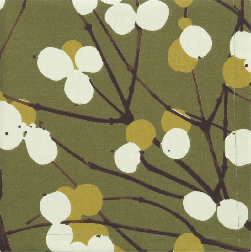 """Designed by Erja Hirvi in 2004, Lumimarja (""""snowberries"""") is a modern return to organic and natural design encapsulated elegantly in this Marimekko pattern. The snowberry, whose interior resembles crystalline snowflakes, is representative of the beauty that can be found throughout Finland's vast wilderness.<br /><br /><NEWTAG/><ul><li>Pattern designed by Erja Hirvi; 2004</li><li>100% cotton sateen</li><li>Machine wash; tumble dry, warm iron as needed</li><li>Napkins are random cut from the tablecloth fabric so each will be different</li><li>Made in Portugal</li></ul>"""