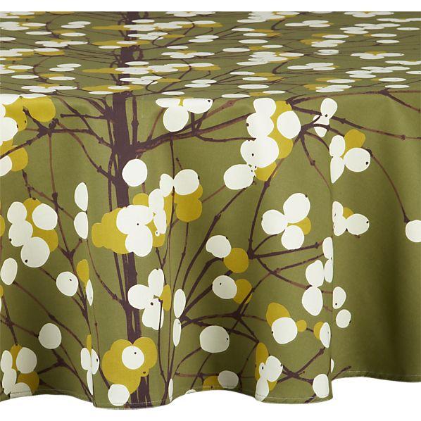 """Marimekko Lumimarja Green 72"""" Round  Tablecloth"""