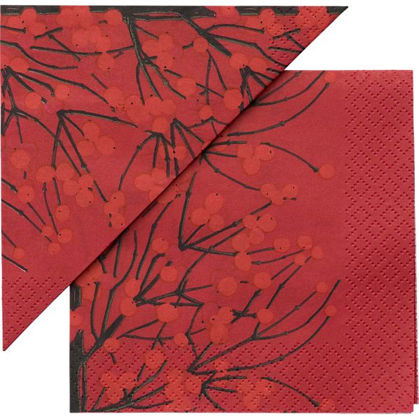 "Set of 20 Marimekko Lumimarja Red Paper 6.5"" Napkins"