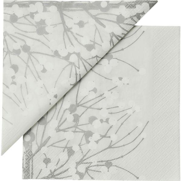"Set of 20 Marimekko Lumimarja White Paper 6.5"" Napkins"