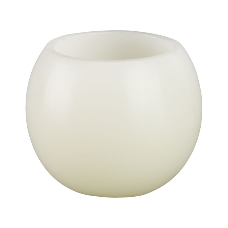 Luminary orbs are hollow at the top to create a warm lantern glow when lit.<br /><br /><NEWTAG/><ul><li>100% purified paraffin wax</li><li>Burn time: 8 hours</li></ul>