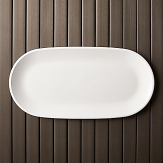 "Lunea Melamine White 19""x9.5"" Long Serving Platter"