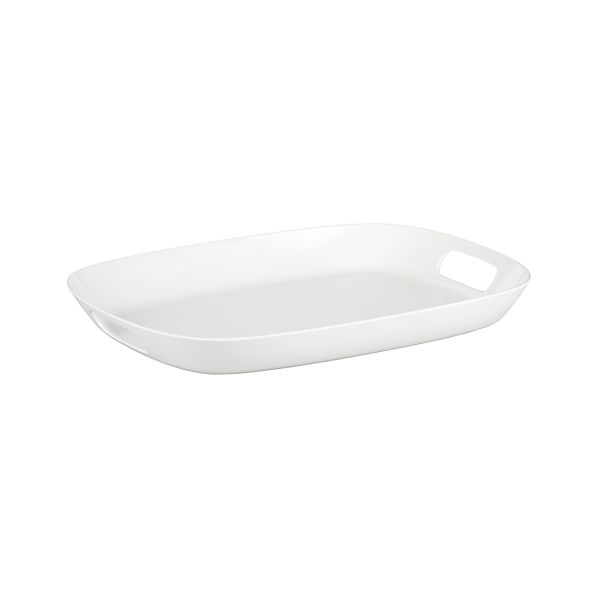 "Lunea Melamine White 19""x14"" Tray with Handles"