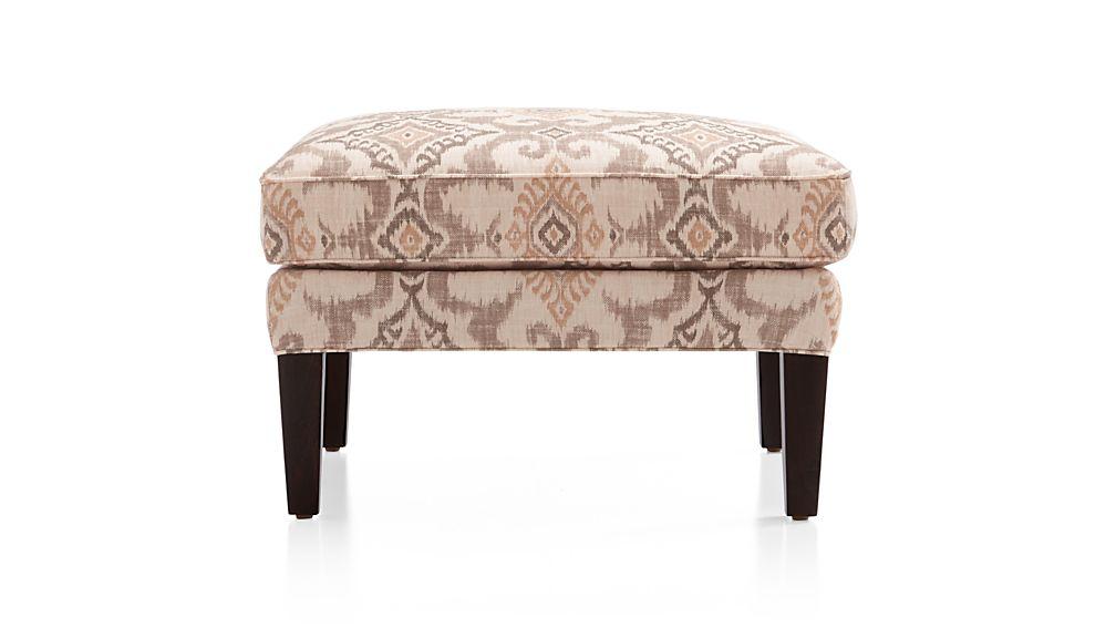 luxe ottoman kantha raffia crate and barrel. Black Bedroom Furniture Sets. Home Design Ideas