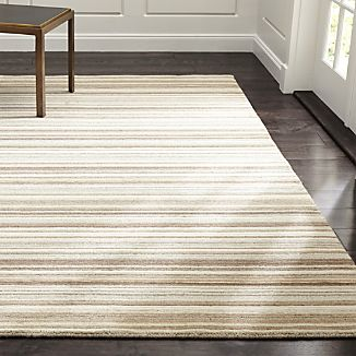 Lynx Natural Striped Hand Knotted Wool Rug