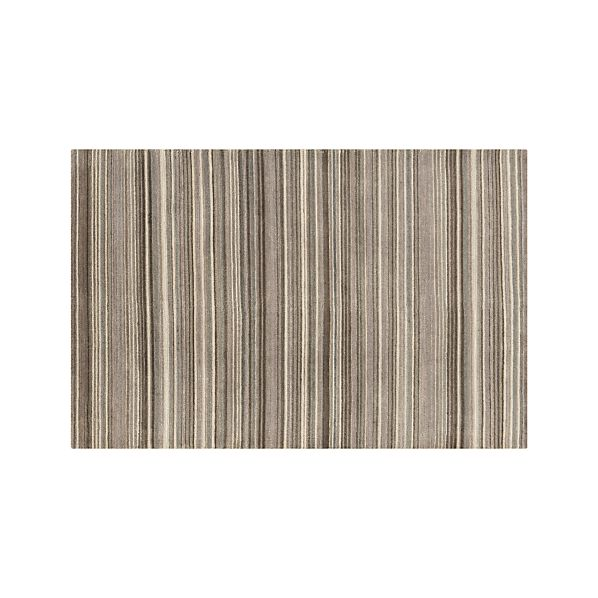 Lynx Grey Striped Hand Knotted Wool 5'x8' Rug