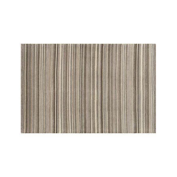 Lynx Grey Striped Hand Knotted Wool 6'x9' Rug