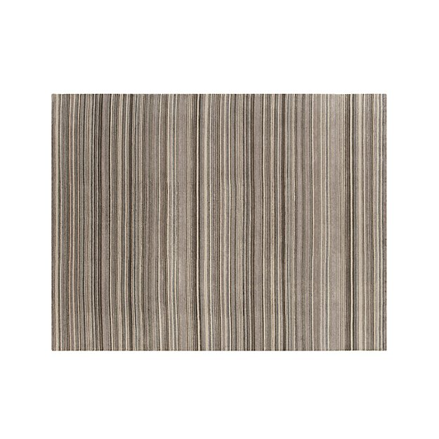 12 10 X 14 11 Persian Karajeh Hand Knotted Wool: Lynx Grey Striped Hand Knotted Wool 10'x14' Rug