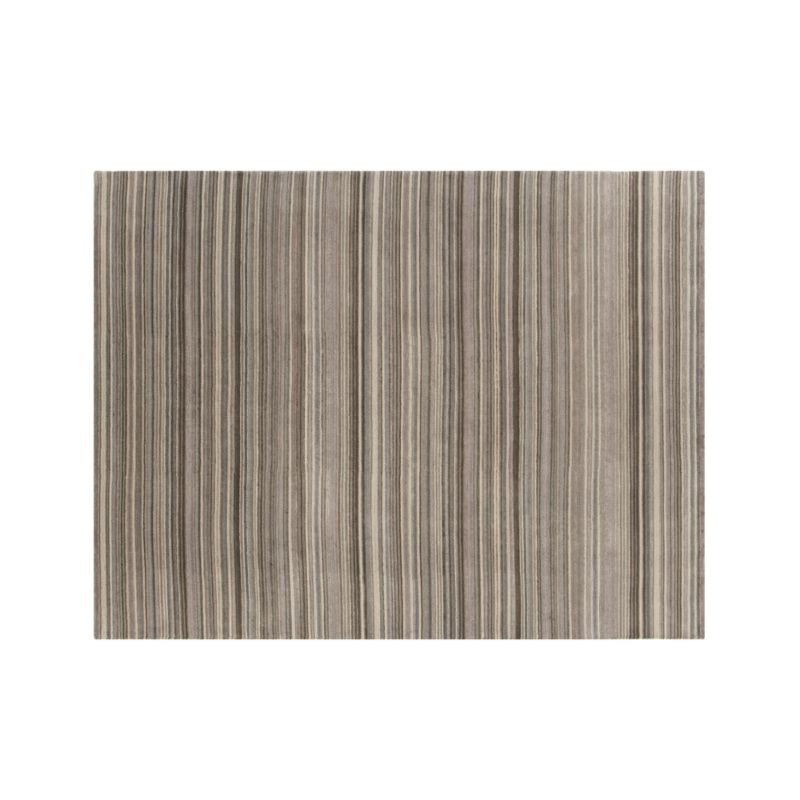 Lynx Grey Striped Hand Knotted Wool 10'x14' Rug