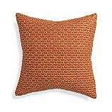 "Maddox Orange 18"" Pillow with Feather-Down Insert"