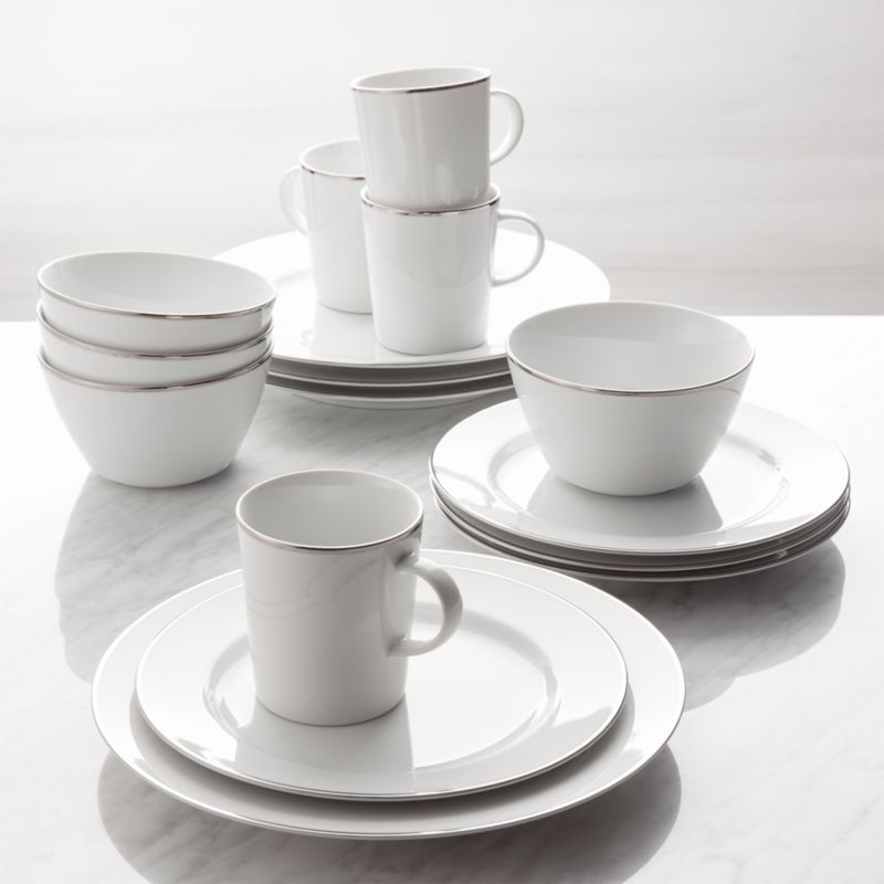 Maison Platinum Rim 16-Piece Dinnerware Set
