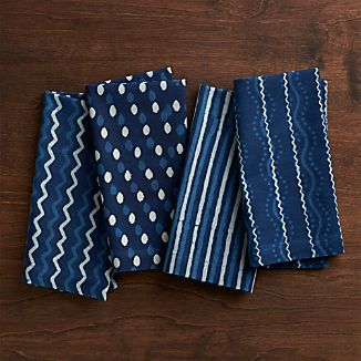 Set of 4 Makena Indigo Cloth Dinner Napkins