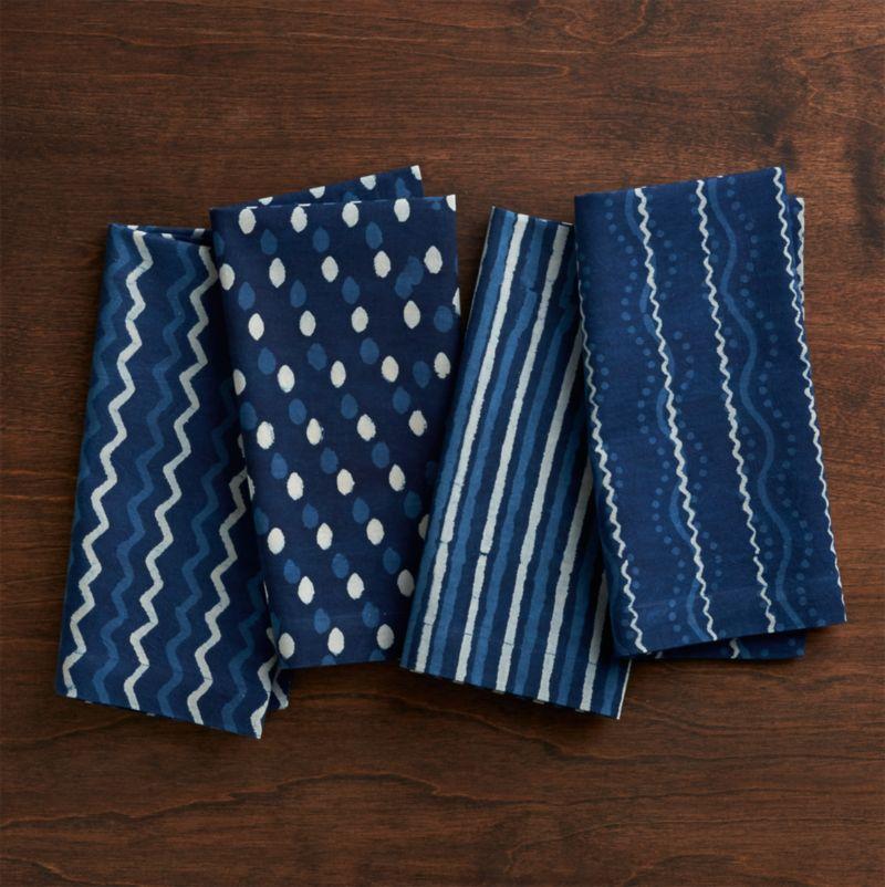 Set of 4 Makena Indigo Cloth Dinner Napkins