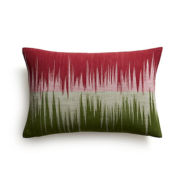 "Malabar Berry and Green 18""x12"" Pillow with Feather-Down Insert"