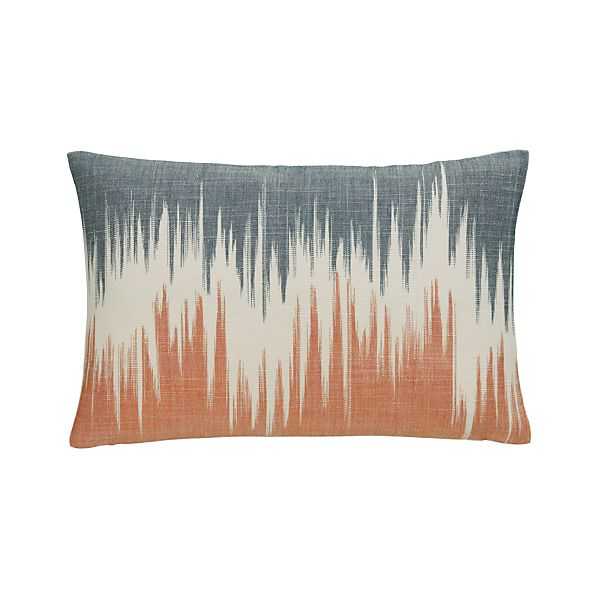 "Malabar Orange and Ink 18""x12"" Pillow with Feather-Down Insert"