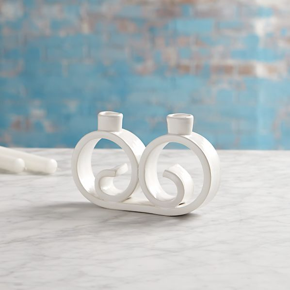 Mallorca Curled Two Taper Candle Holder
