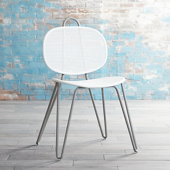 Mallorca Grey and White Metal Side Chair