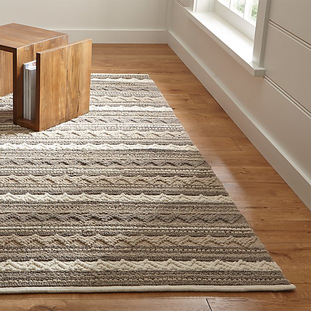 Mallory Neutral Striped Wool Rug