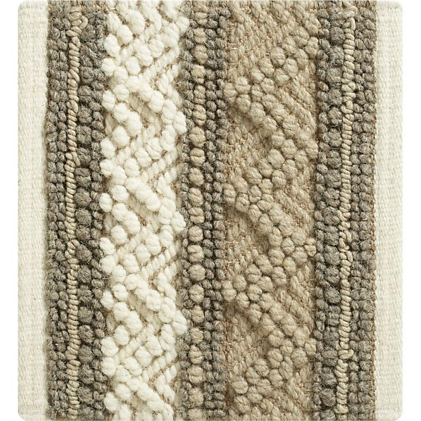 "Mallory Neutral Striped Wool 12"" sq. Rug Swatch"