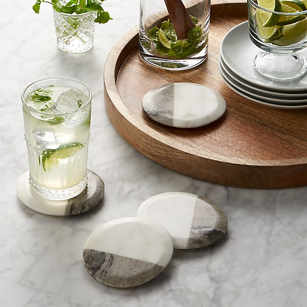 Set Of 4 Marble Coasters Crate And Barrel