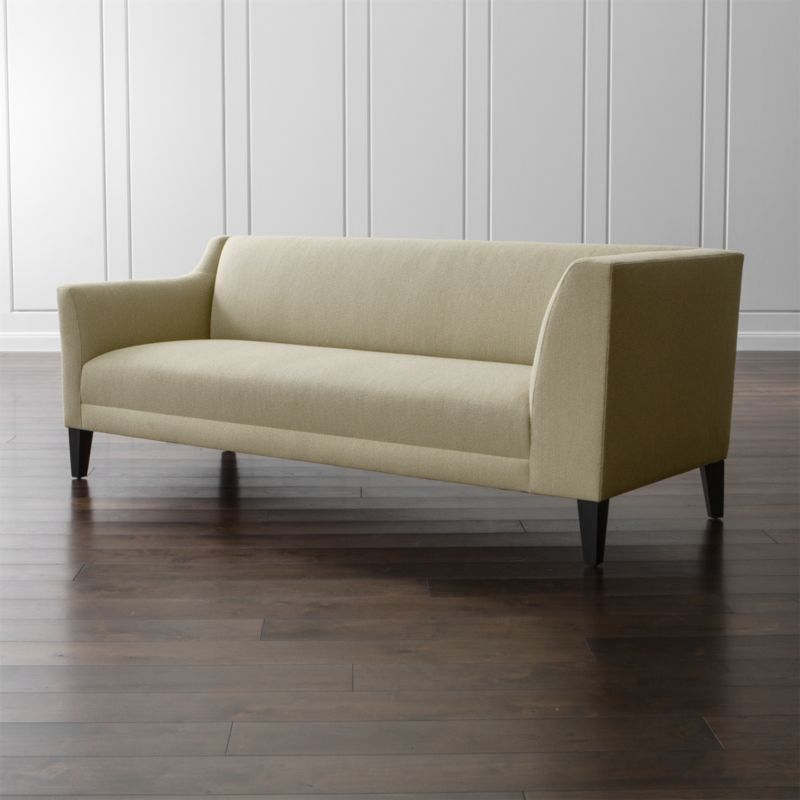 Graceful, curvy, petite. Margot makes an impressive statement at an equally impressive value. Scaled for smaller living rooms and apartments, this left arm sectional corner sofa's upright profile features one high track arm with a distinct cutaway and modern tapered legs. <NEWTAG/><ul><li>Frame is benchmade with a certified sustainable hardwood that's kiln-dried to prevent warping</li><li>Sinuous wire spring suspension system</li><li>Soy-based polyfoam with fiber seat and back cushions</li><li>Hardwood legs stained with dark jet finish</li><li>Made in North Carolina, USA of domestic and imported materials</li></ul><br />