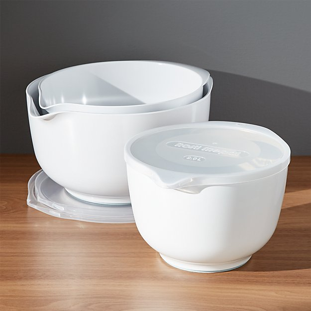 rosti white melamine mixing bowls with lids set crate and barrel. Black Bedroom Furniture Sets. Home Design Ideas