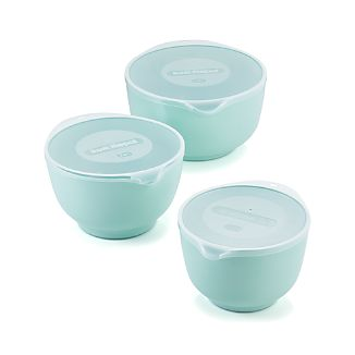 Retro Green Melamine Mixing Bowls with Lids Set