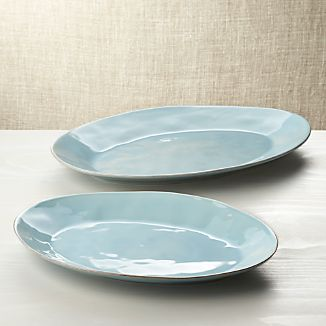 "Marin Blue 15.75""-20"" Oval Platters"