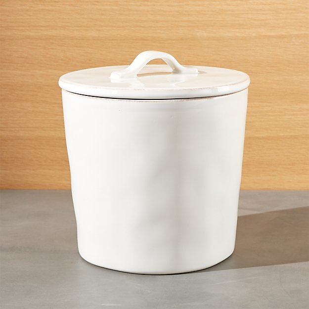 Marin medium white ceramic kitchen canister crate and barrel - White ceramic canisters for the kitchen ...