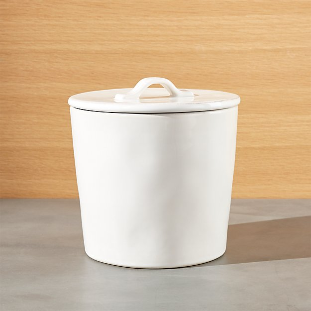 Marin small white ceramic kitchen canister crate and barrel - White ceramic canisters for the kitchen ...