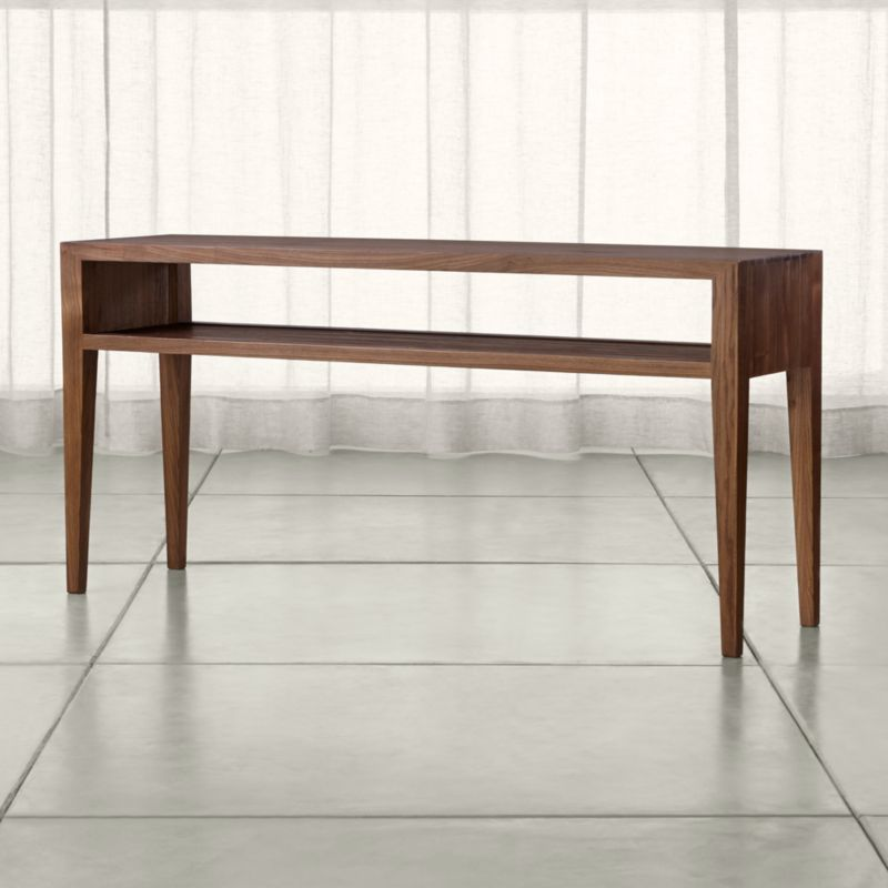 Marin shiitake solid wood console table crate and barrel - Table console a rallonge ...