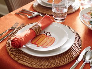 "Linden 60""x90"" Sienna Orange Tablecloth"