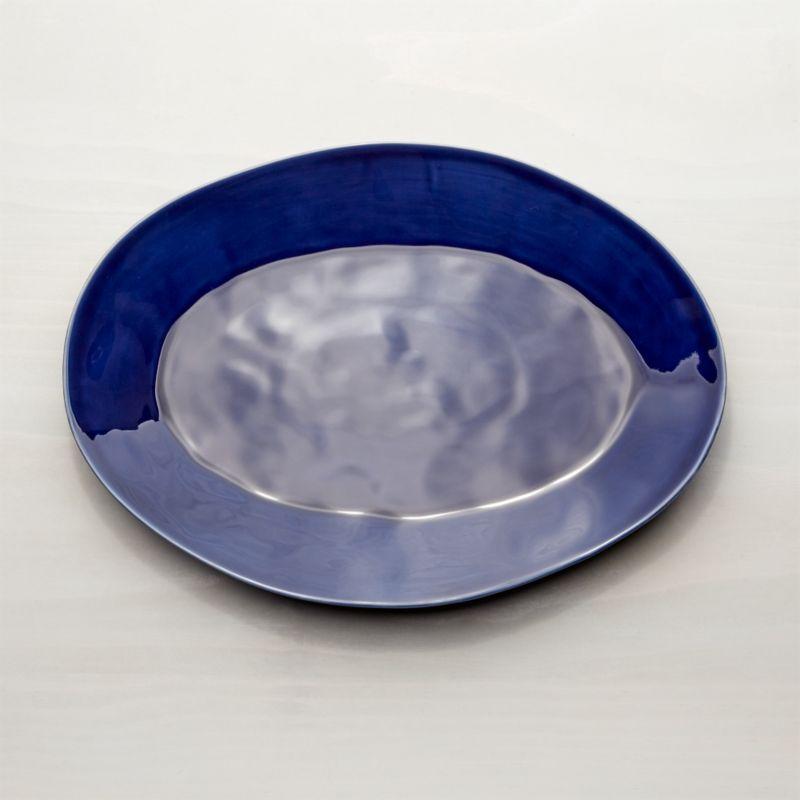 """Marin Dark Blue 15.75"""" Oval Platter"""