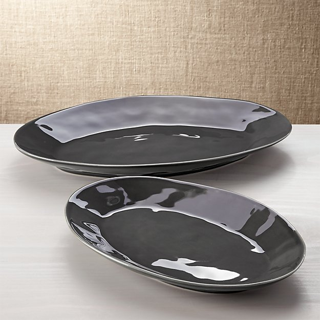 Marin Dark Grey Oval Platters