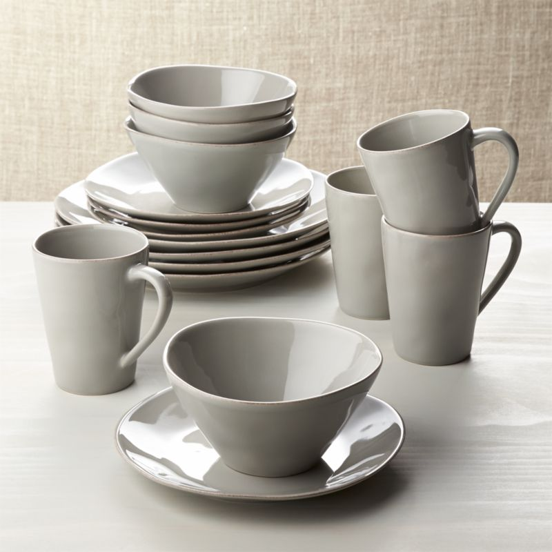 Marin Grey 16 Piece Dinnerware Set Crate And Barrel